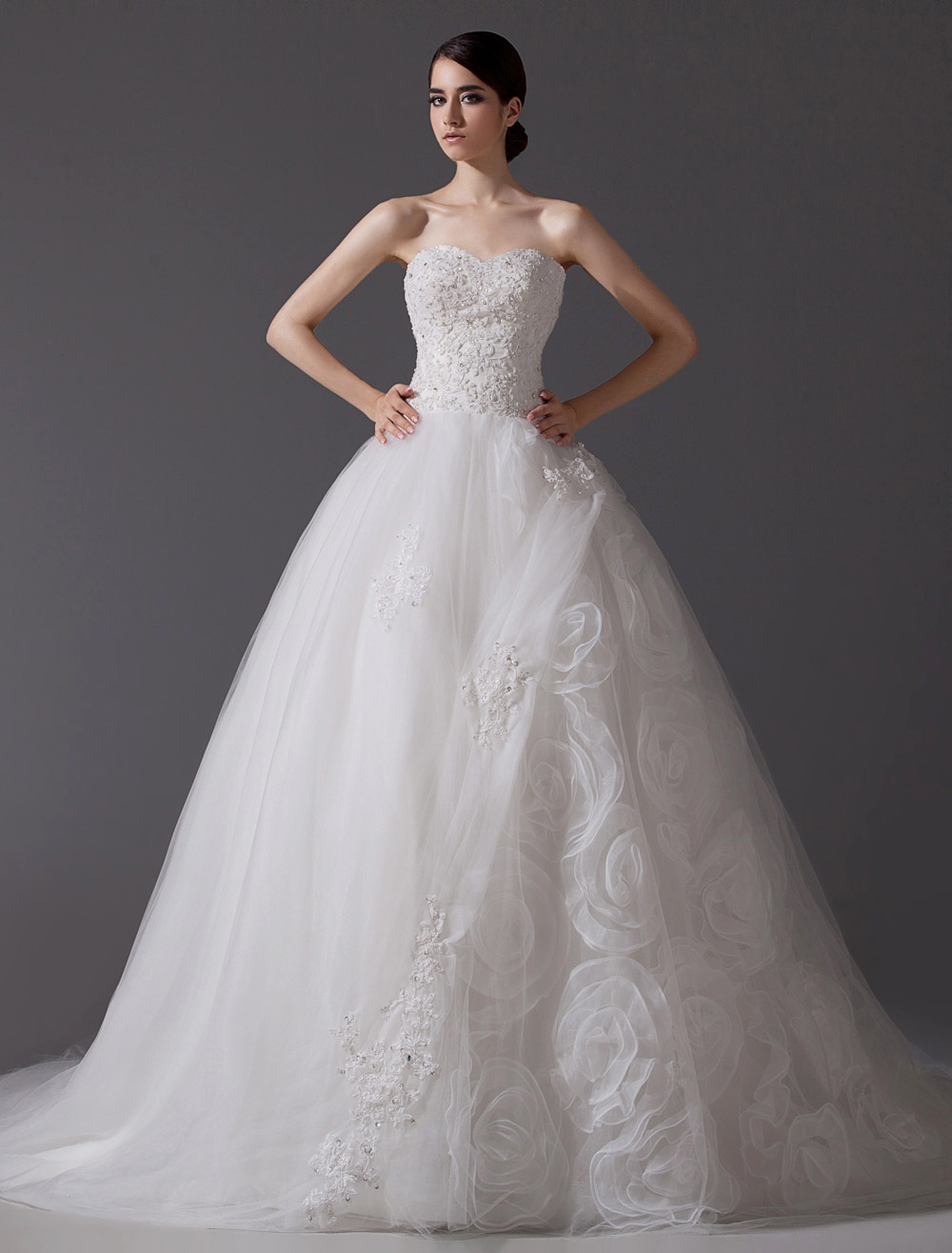 Cathedral Train Ivory Sweetheart Neck A-line Floral Wedding Dress
