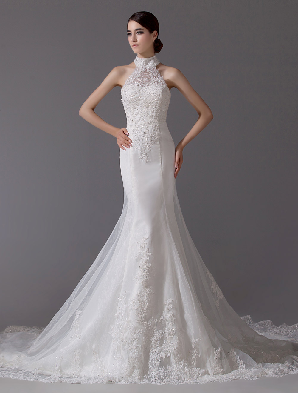 Ivory Wedding Dress Mermaid Backless Beaded Lace Up Wedding Gown