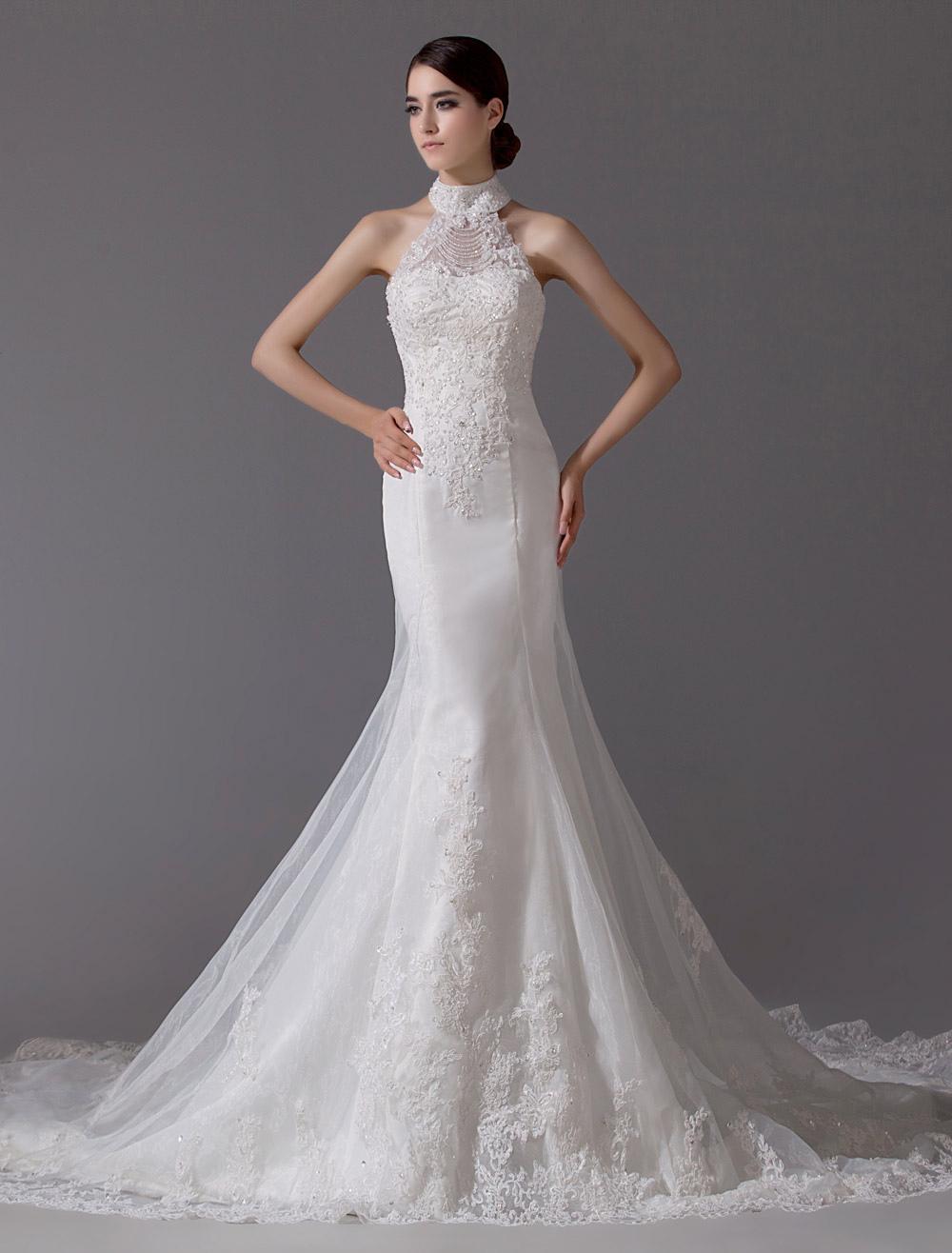 Ivory Wedding Dress Mermaid Backless Beaded Lace Up