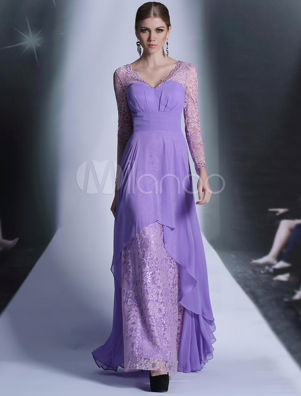 Vestido de noche de chifón de color lila de manga larga con escote ...