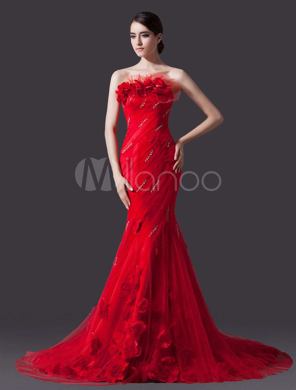 Red Mermaid Strapless Flower Court Train Bridal Wedding Gown