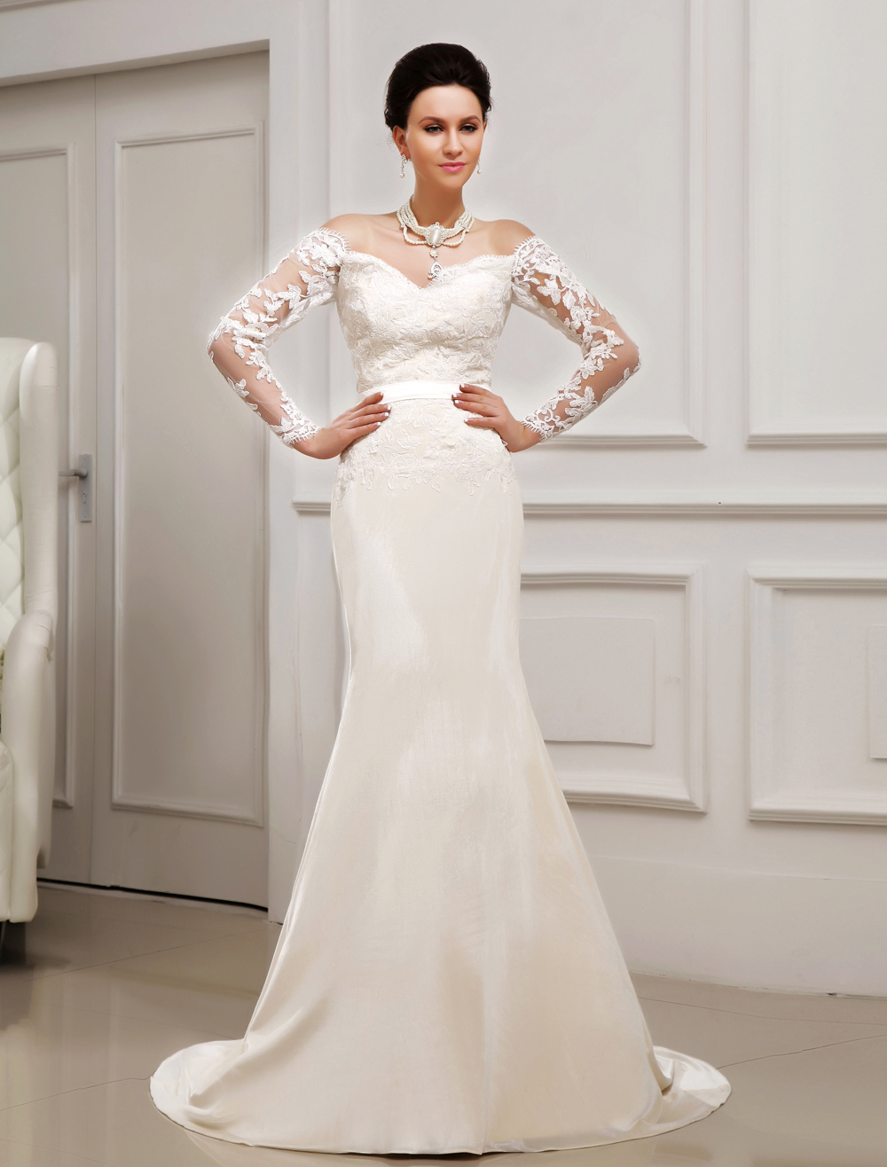 Ivory Bridal Wedding Dress with Applique  Milanoo
