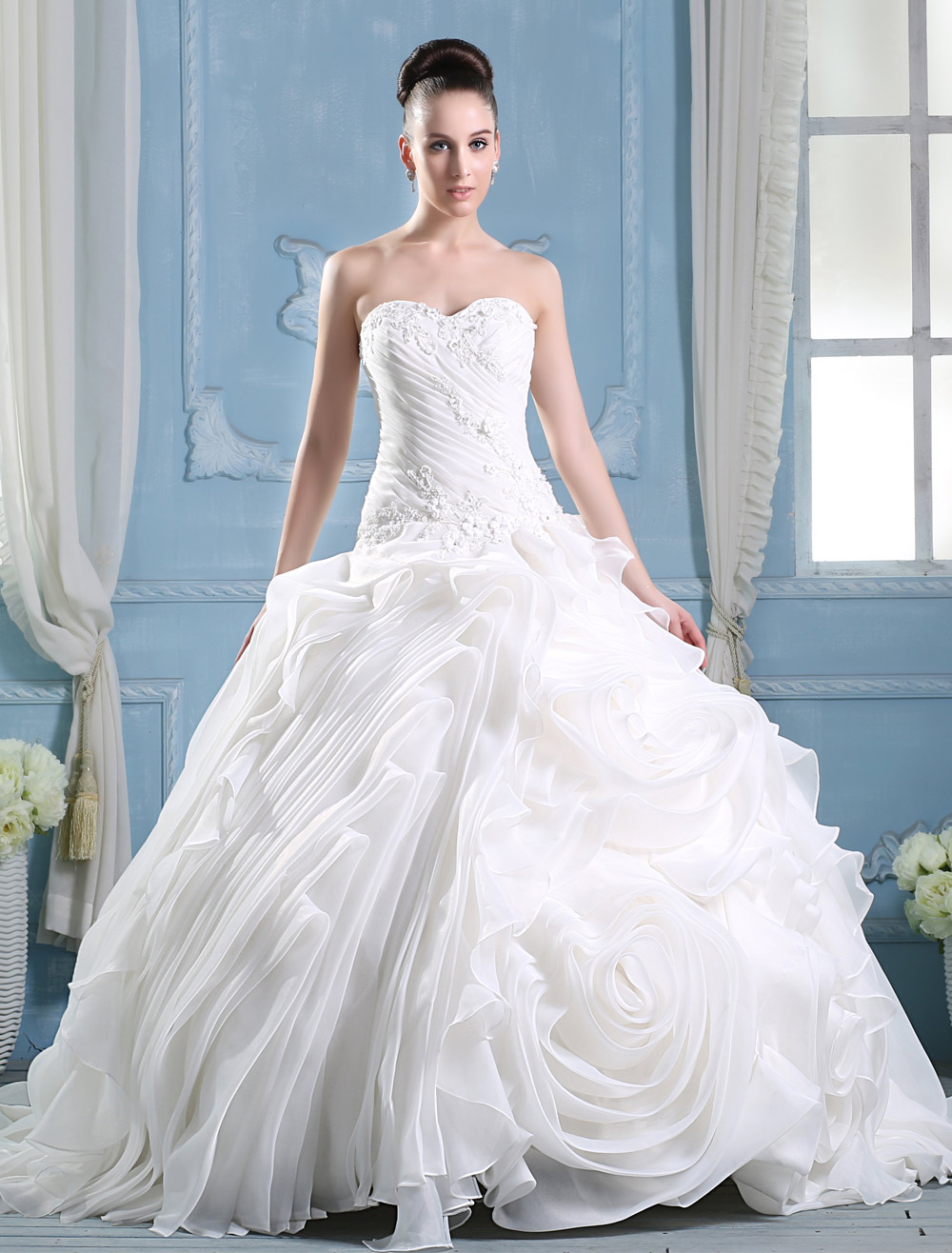 Ivory Sweetheart Neck A-line Strapless Flower Wedding Dress