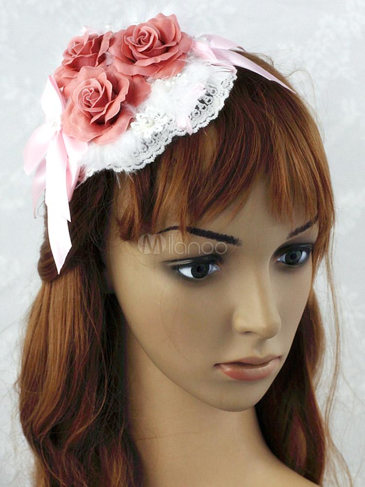 Buy Pink Flower Mesh Fantastic Lolita Headdress for $27.59 in Milanoo store