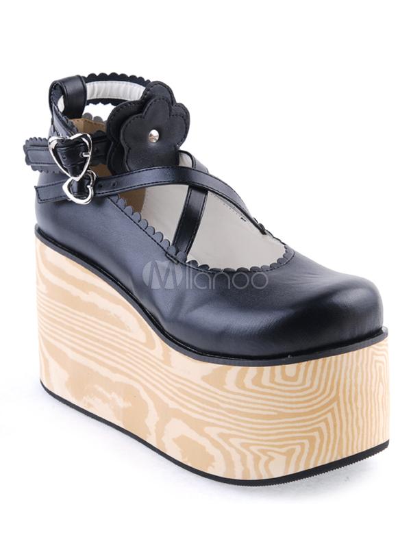 Zapatos de lolita de PU con flores nlrNti