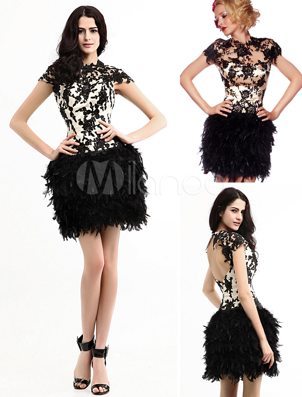 Champagne Lace Feather Elastic Woven Satin Organza Prom Dress