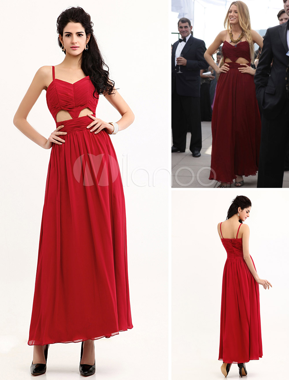 Buy Chic Ankle-length Cut Out Chiffon Formal Evening Gossip Girl Dress for $116.99 in Milanoo store