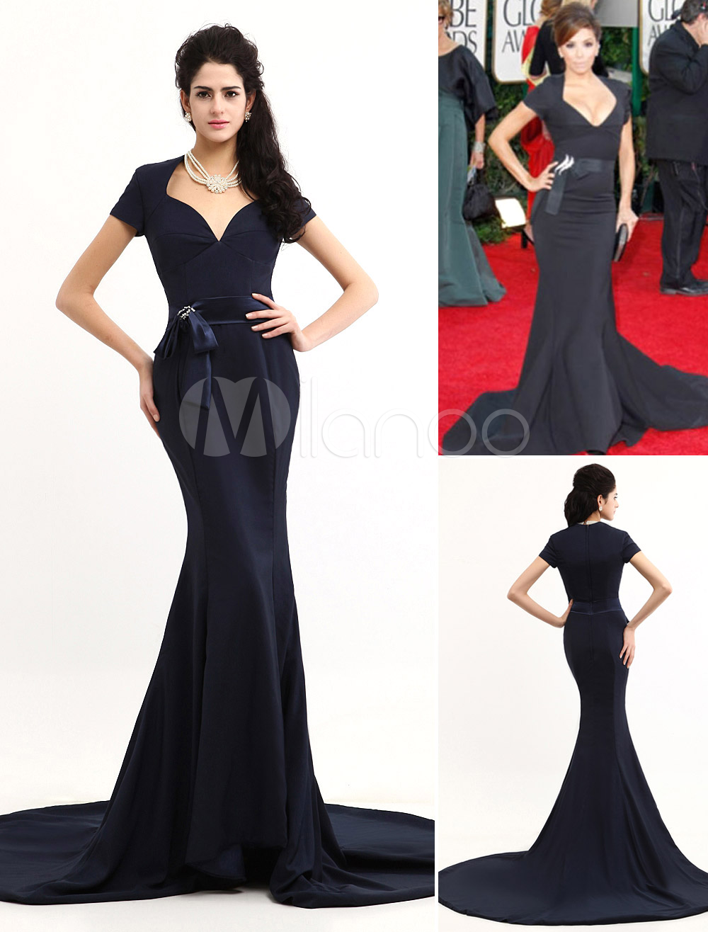 Celebrity Dress Dark Navy Satin Evening Dress Short Sleeve V Neck Beaded Oscar Dress