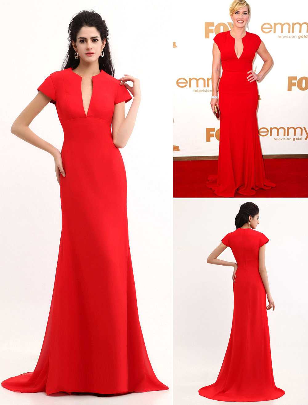 Red Kate Winslet Floor Length Chiffon Emmy Awards Dress