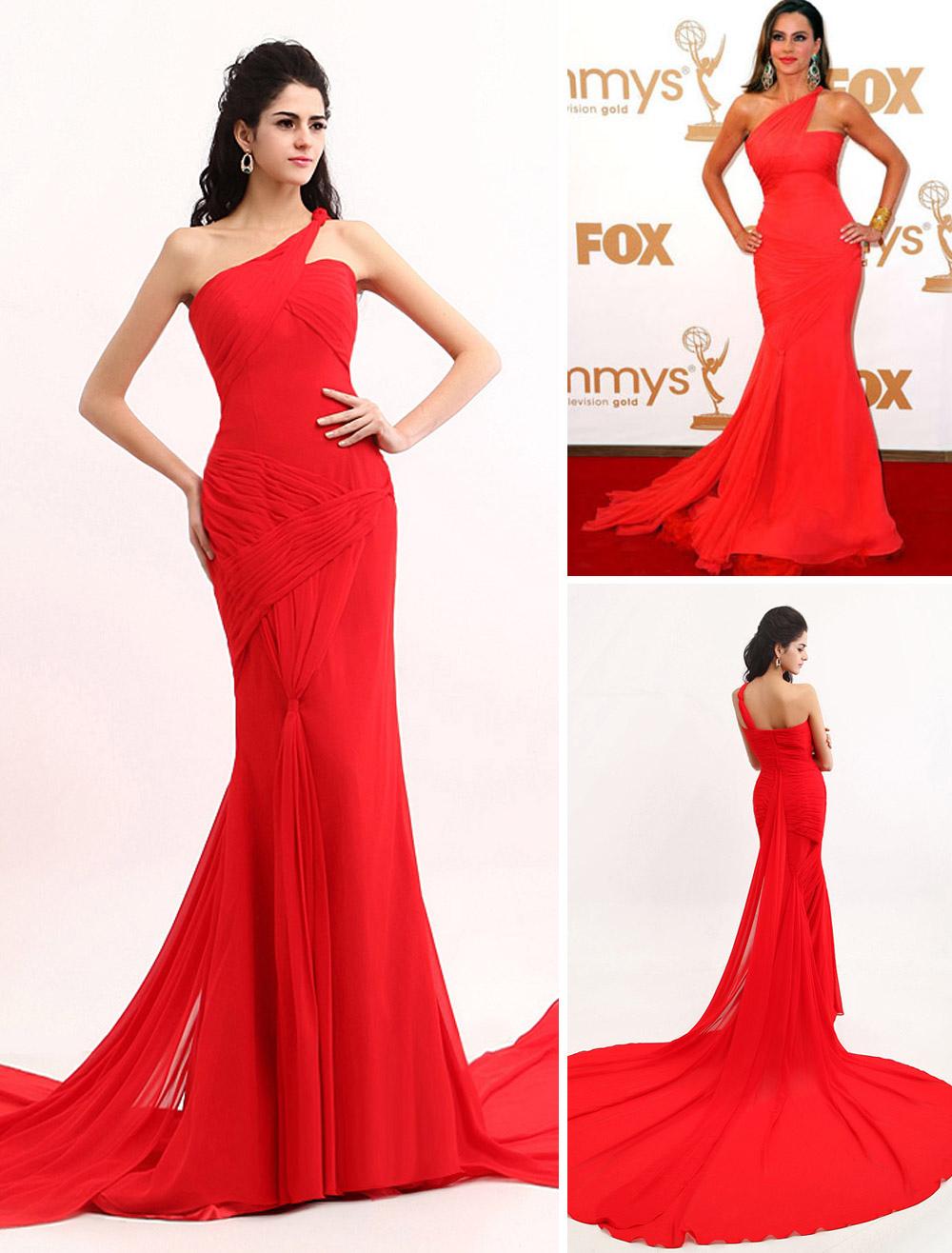 Red Sofia Vergara One-Shoulder Mermaid Trumpet Chiffon Emmy Awards Dress