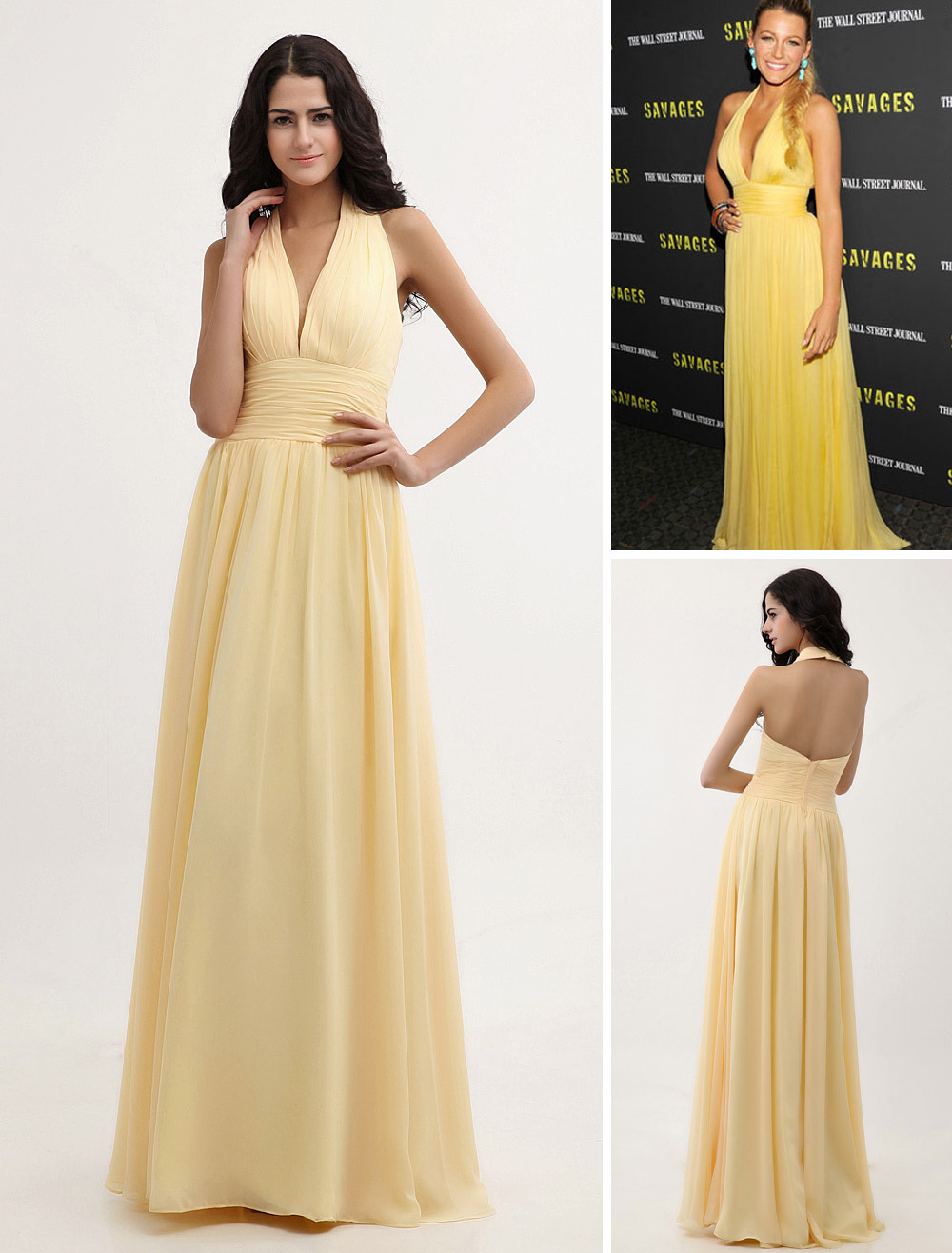 Buy Daffodil Chiffon V-neck A-line Dress Inspired By Gossip Girl for $108.89 in Milanoo store