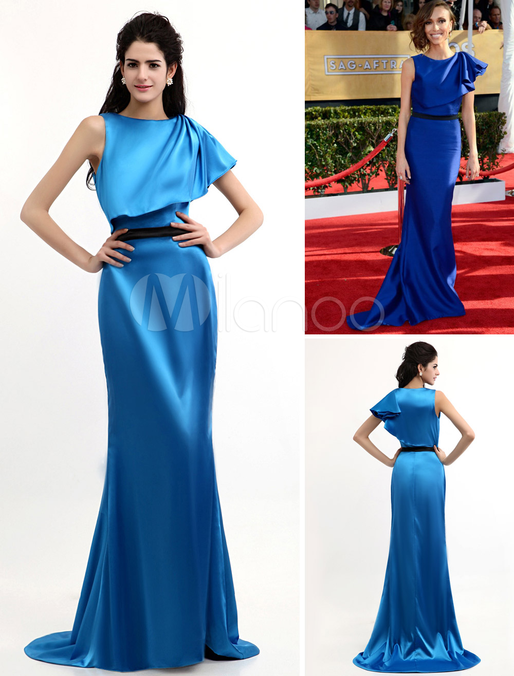Sexy Royal Blue Elastic Woven Satin Sleeveless Women's Celebrity Dress