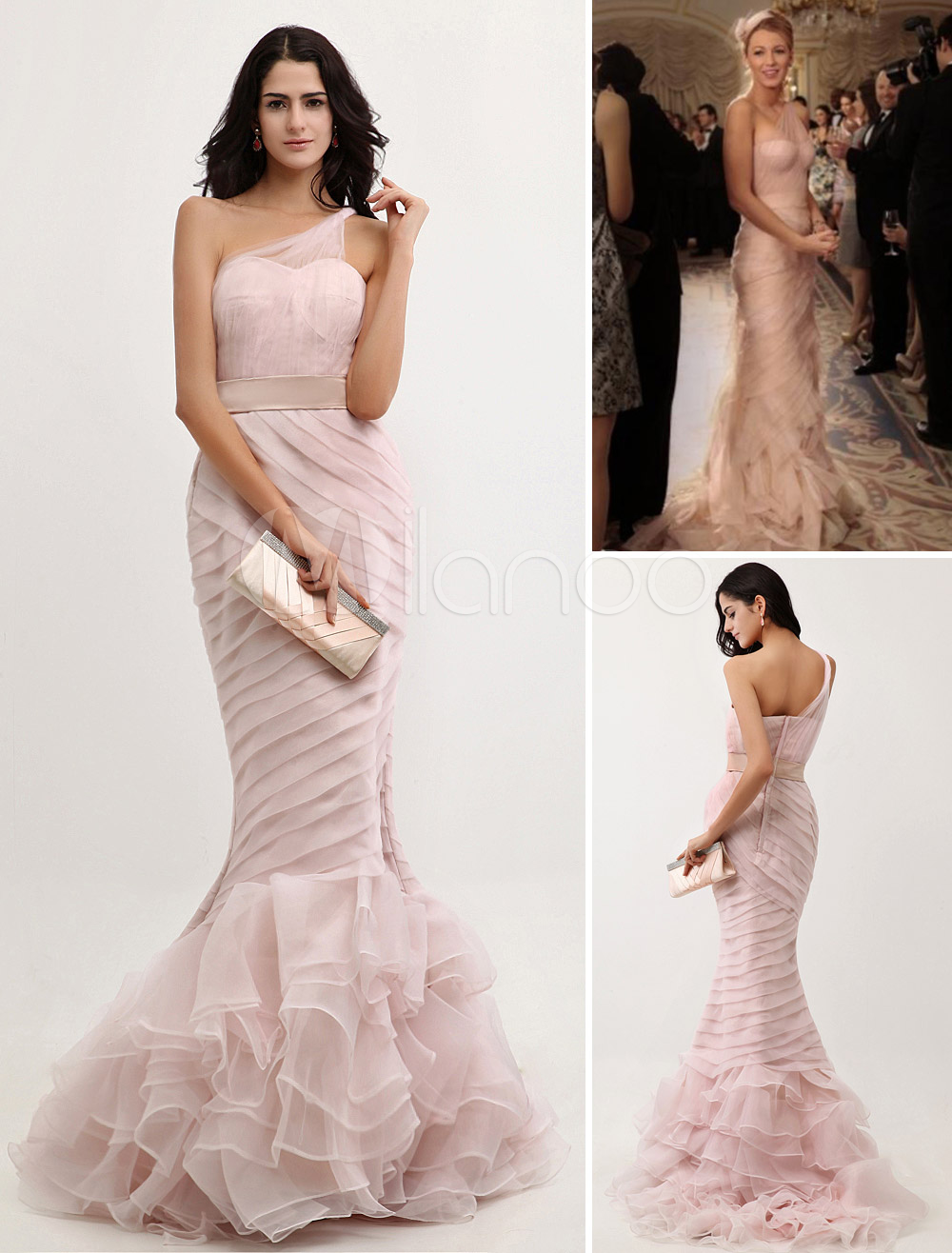 Peach Evening Dress Mermaid One Shoulder Organza Prom Dress Ruched ...