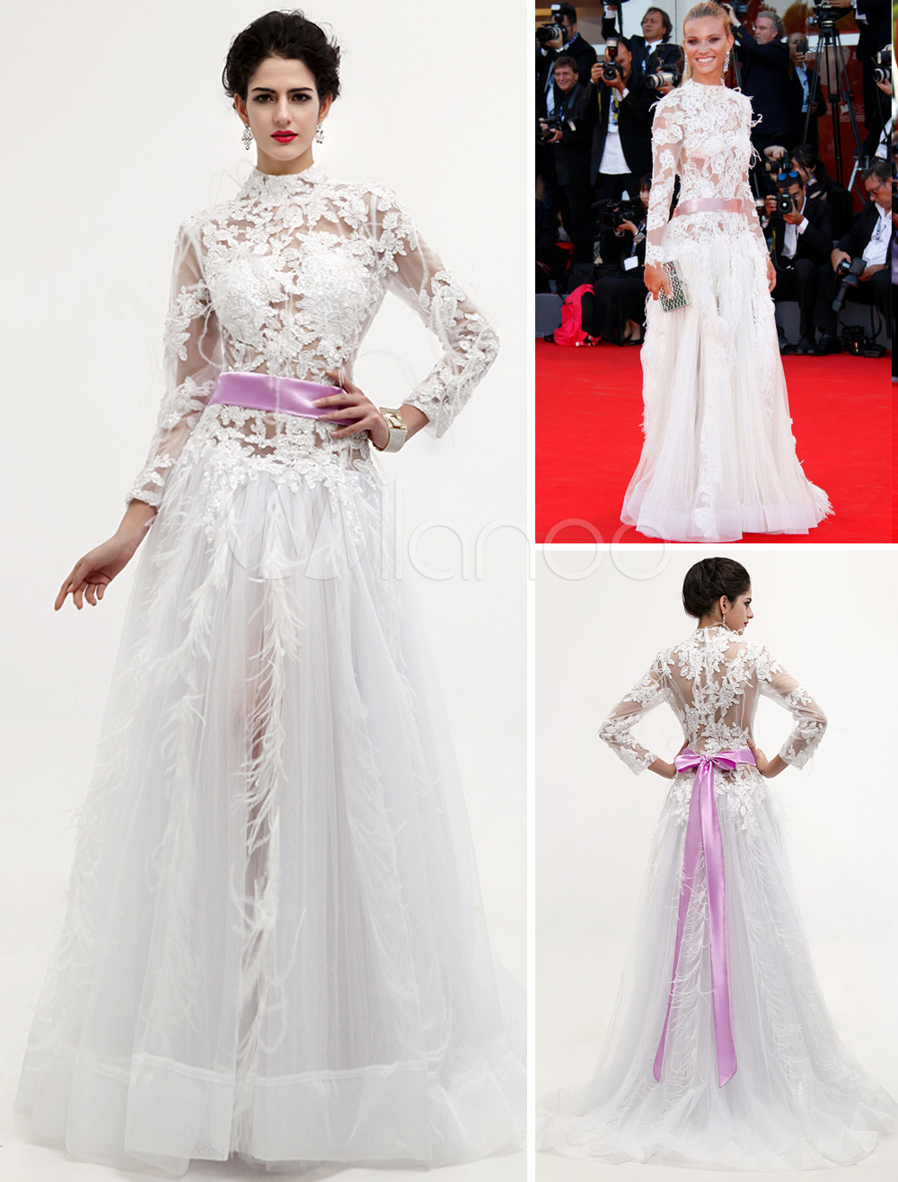 A-line White Net Venice Film Festival Dress with High Collar Long Sleeves Feather Lace
