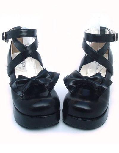 Sweet Lolita Shoes Chunky Heel Black Bow PU Lolita Shoes