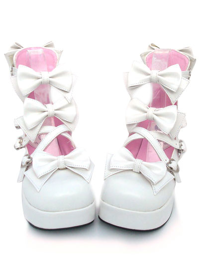 Buy Sweet Chunky Heels Lolita Shoes Platform Bow Decor Round Toe for $57.99 in Milanoo store