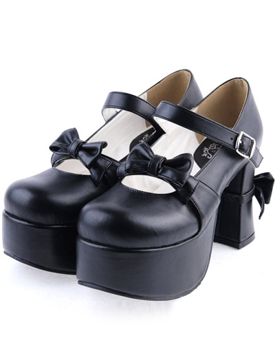 Matte Black Lolita Chunky Heels Shoes Platform Bows Decor Buckle