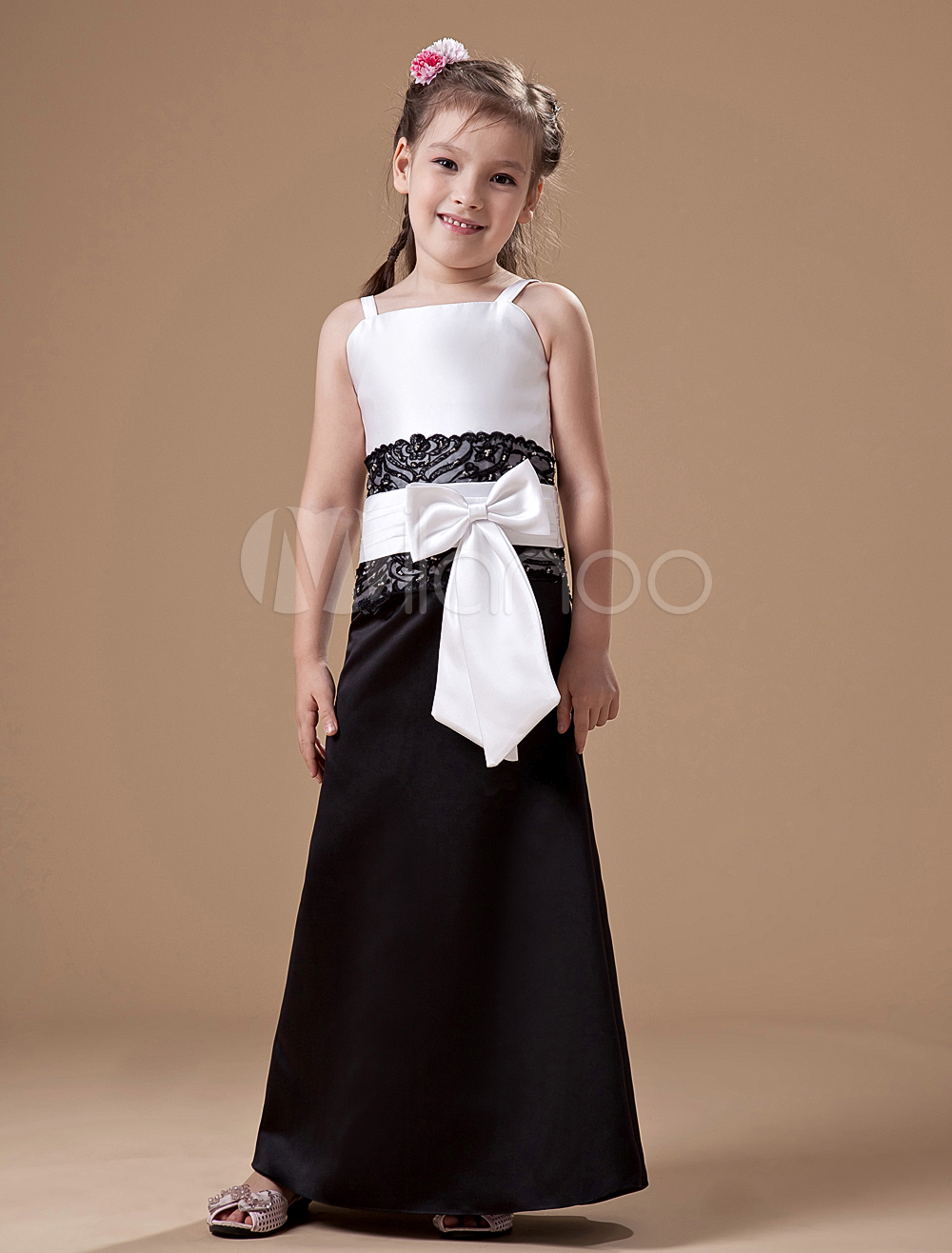 Mermaid satin junior bridesmaid dress with sash spaghetti straps 30off ombrellifo Images