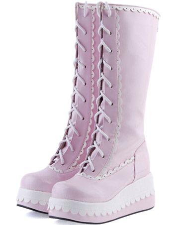Sweet Pink Lace-Up Wedge Heel Round Toe PU Lolita Boots