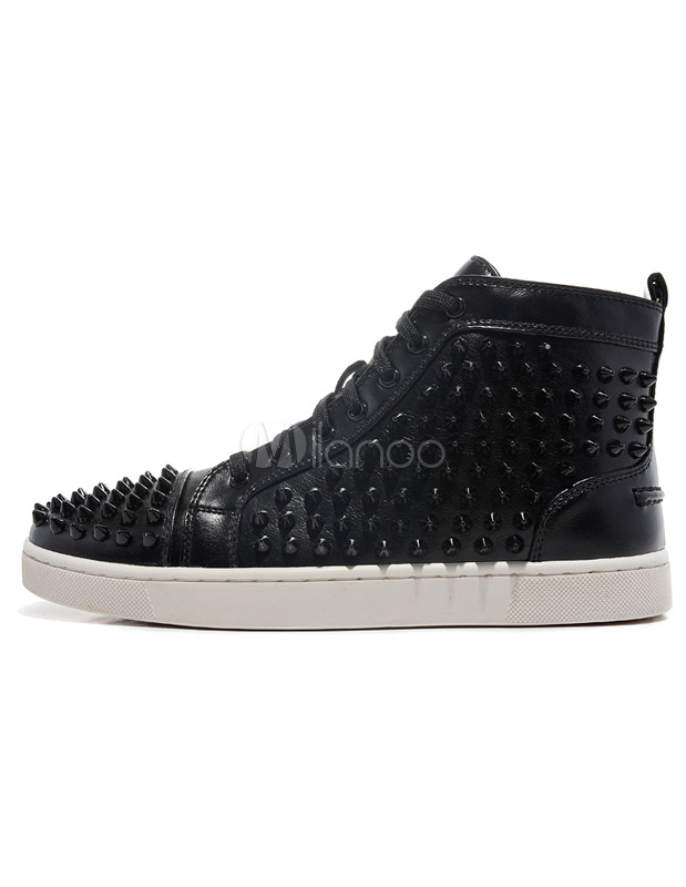 Buy Black Sheepskin Grommets Studded Round Toe Men's Sneakers for $80.99 in Milanoo store