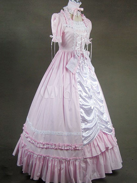 victorian sweet lolita pink pleated cotton long dress and