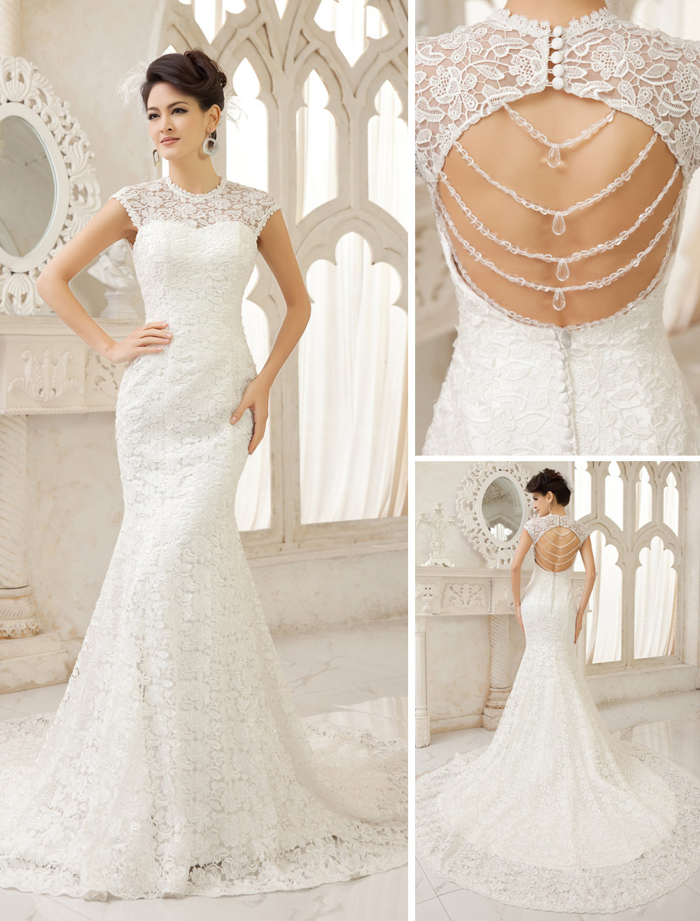 Ivory Mermaid Jewel Neck Cut Out Court Train Wedding Dress Milanoo