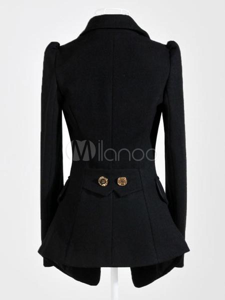 charmant blazer femme formel noir en laine unicolore crois. Black Bedroom Furniture Sets. Home Design Ideas