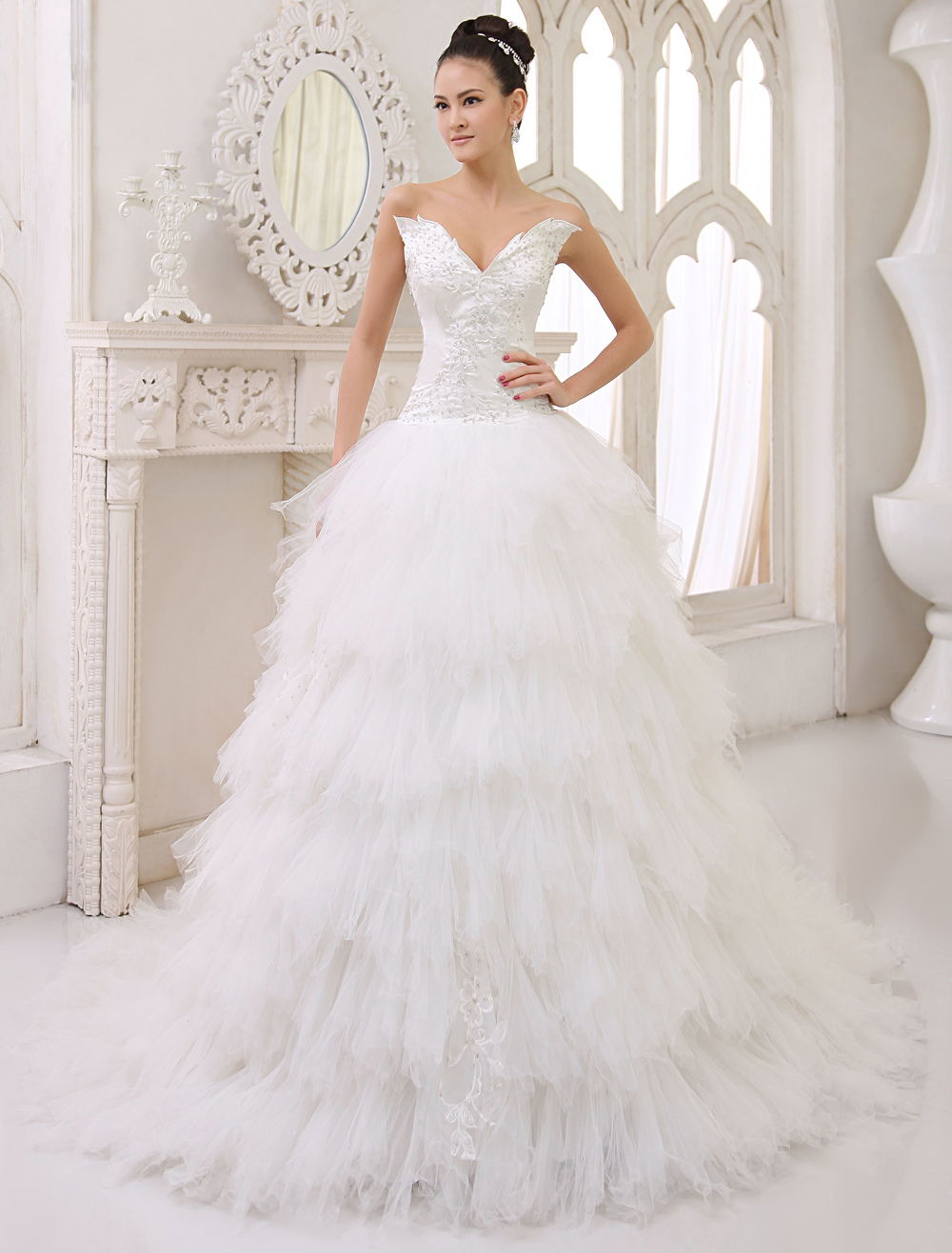 Buy Wedding Dresses Strapless Satin Bridal Gown Ivory Tulle Tiered Lace Beading Chapel Train Bridal Dress for $265.99 in Milanoo store