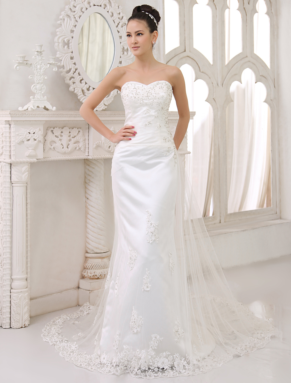 fee75c61b2 ... Lace Applique Bridal Dress Sheath Sweetheart Neckline Beading Wedding  Gown With Train. 12. 45%OFF. Color:Ivory