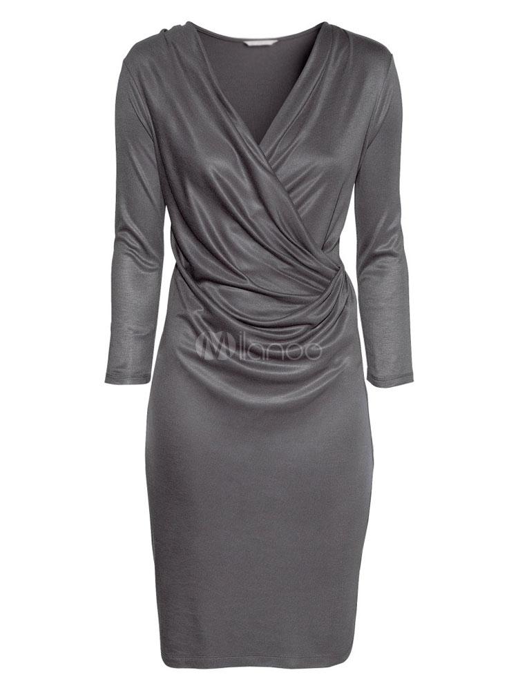 6c8b582834 Long Sleeves Deep V-Neck Shift Dress For Woman - Milanoo.com
