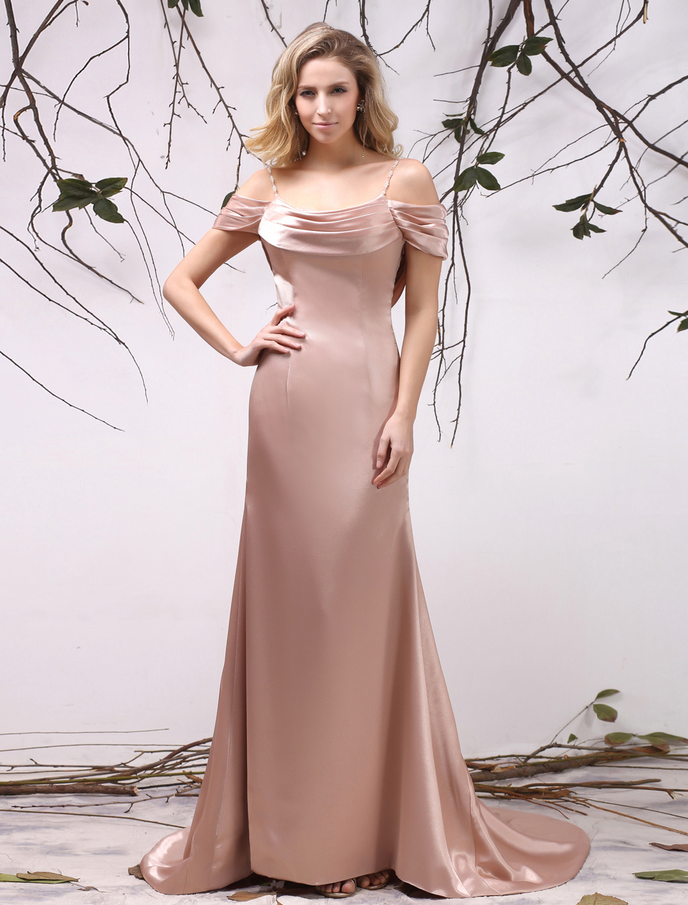 Buy Beautiful Nude A-line Ruched Backless Bridal Mother Dress with Off-The-Shoulder Neck Milanoo for $139.99 in Milanoo store