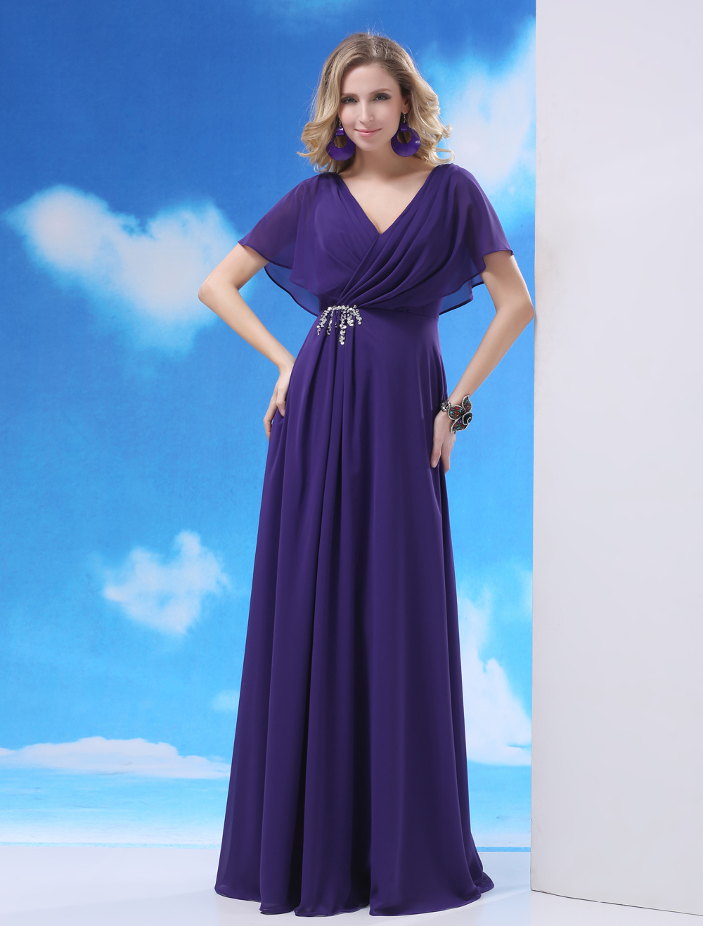 Sequin Backless Chiffon Mother of the Bride Shaping Dress with V-Neck Milanoo