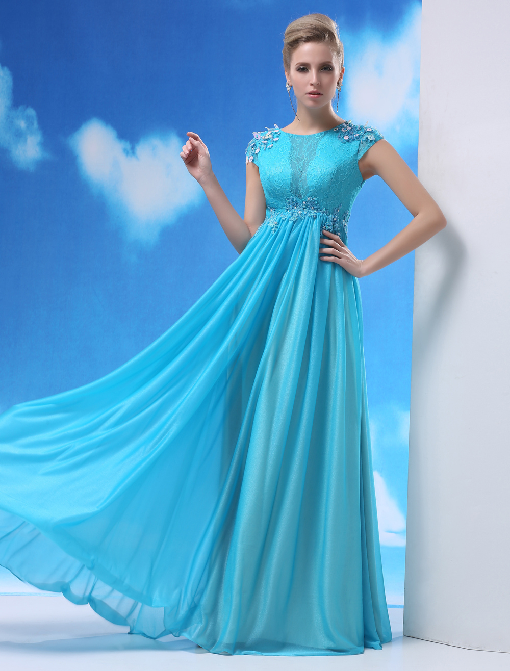 Aqua Evening Dress Shot Silk Beaded Prom Dress Jewel Neck Short Sleeves A Line Pleated Floor Length Party Dress Milanoo