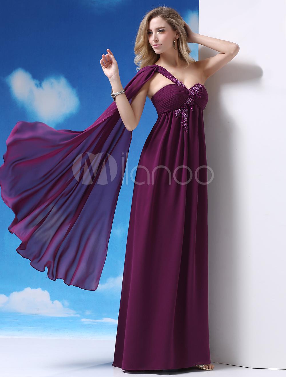 Vestido de fiesta de chifón de violeta oscura de un solo hombro ...