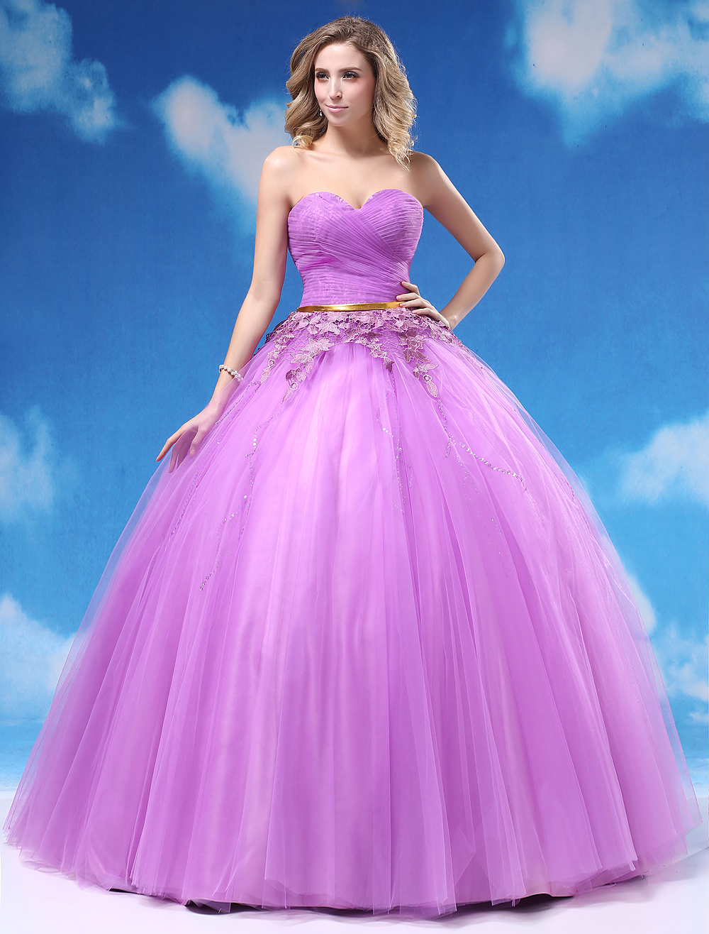 Ball Gown Lilac Beading Sweetheart Floor Length Quinceanera Dress Milanoo