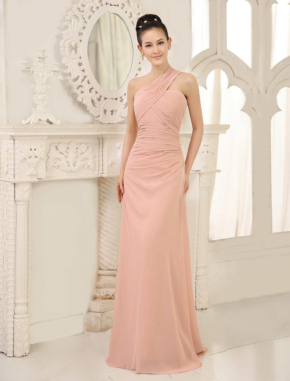 Buy One Shoulder Bridesmaid Dresses Blush Pink Long Ruched Sleeveless Wedding Party Dress for $105.99 in Milanoo store