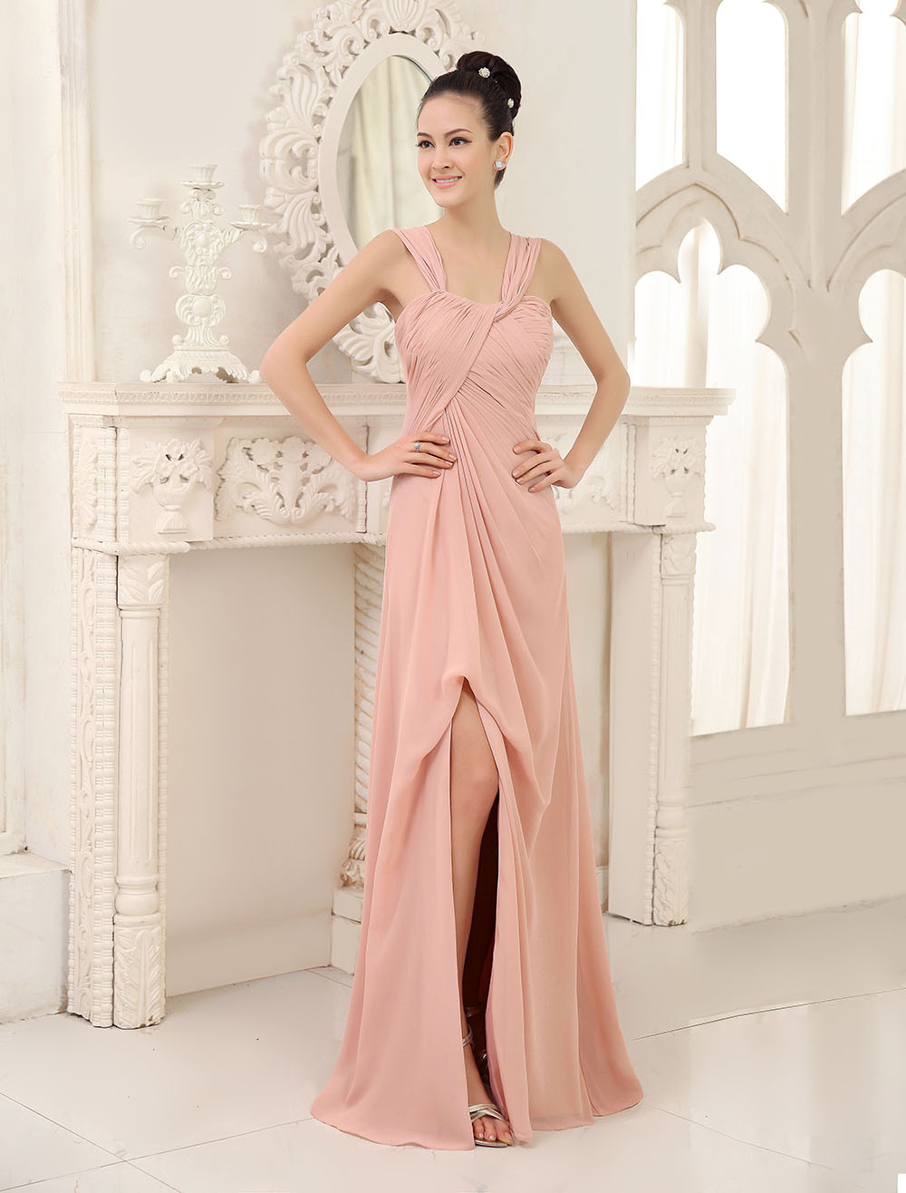 Blush Pink Bridesmaid Dress Long Sleeveless Chiffon Prom Dress High Split Pleated Straps Floor Length Wedding Party Dress