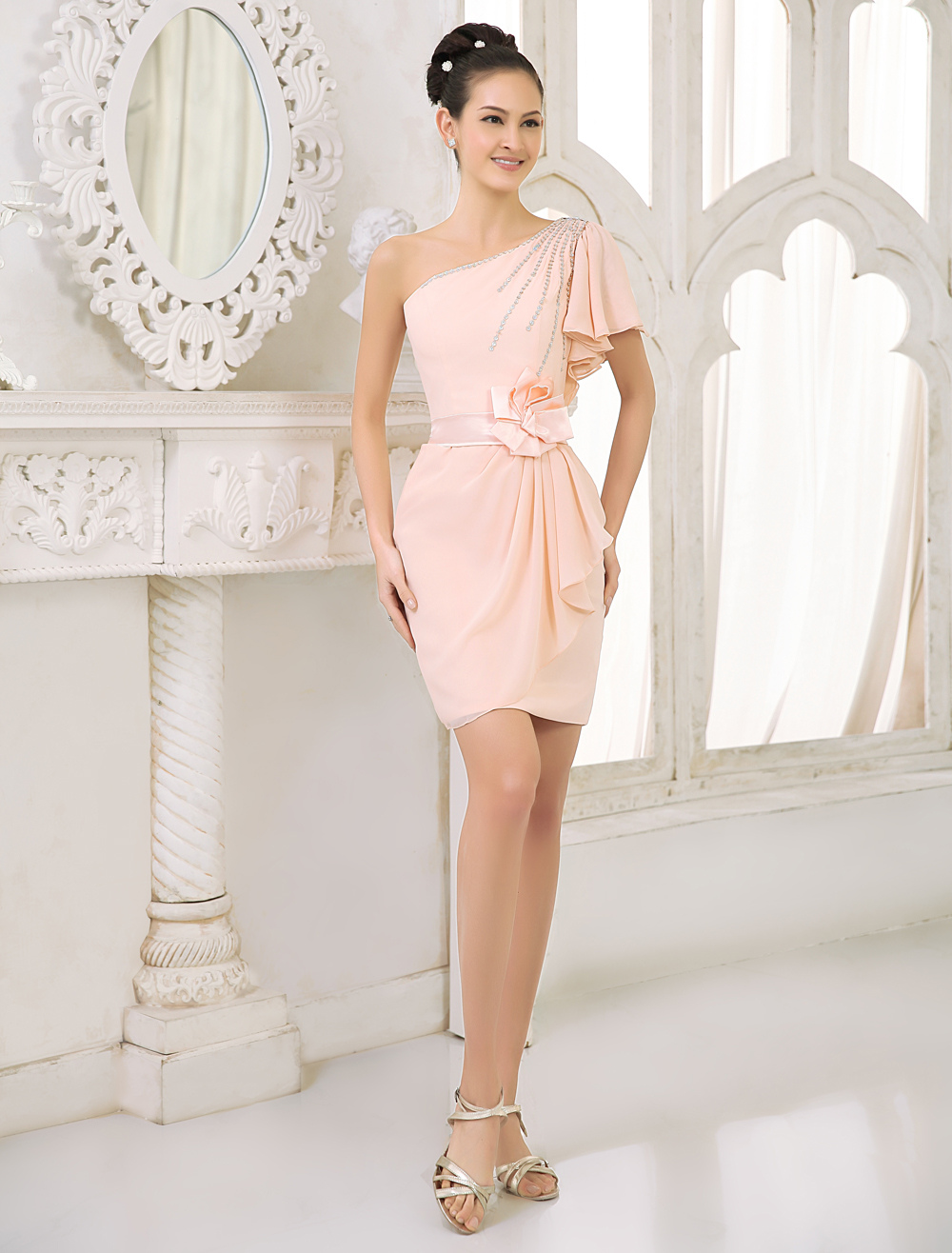Blush Pink Peach Bridesmaid Dress Chiffon Beaded Cocktail Dress One Shoulder Ruffled Sheath Short Party Dress Milanoo