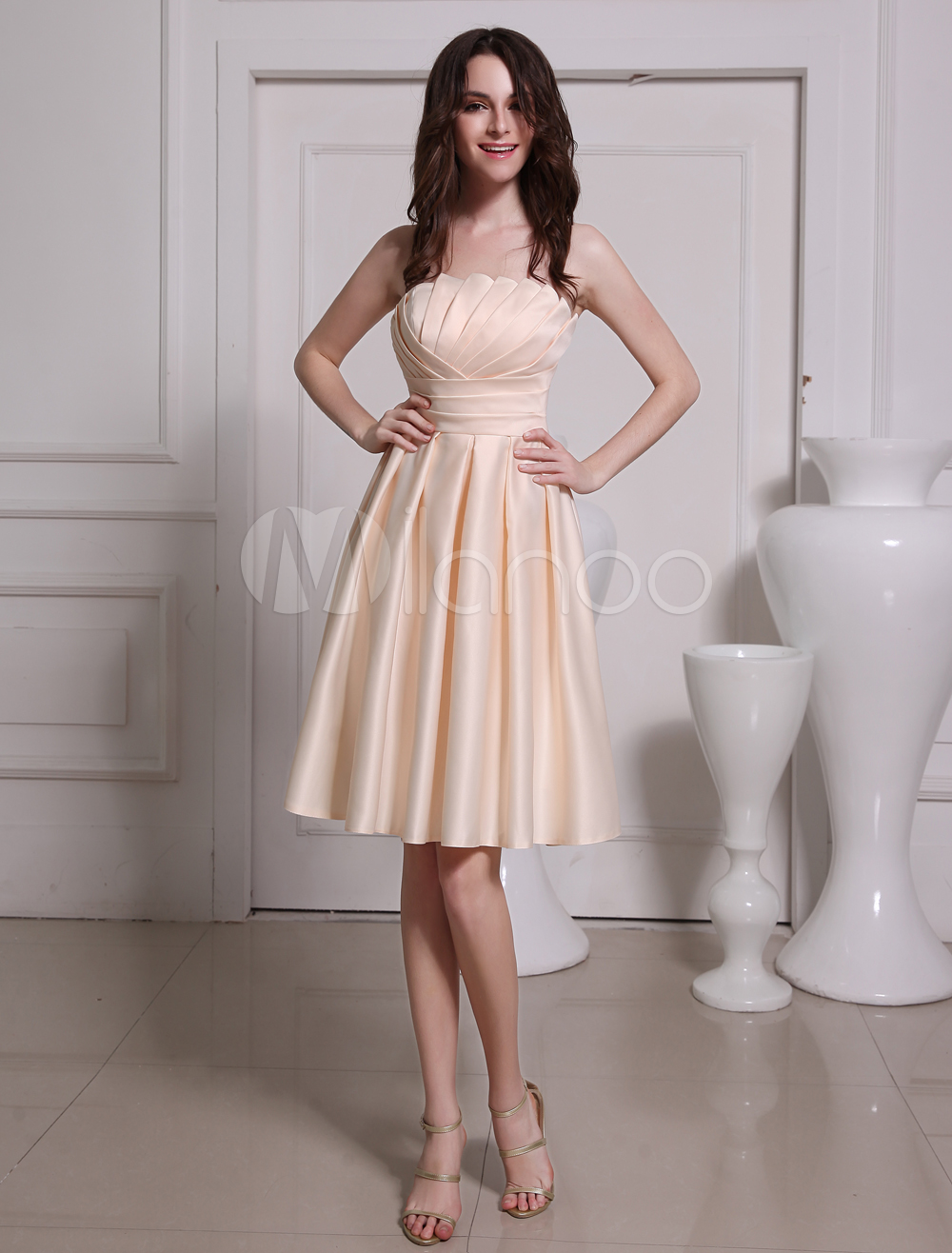 Buy Attractive Champagne A-line Tiered Satin Bridesmaid Dress for $80.51 in Milanoo store