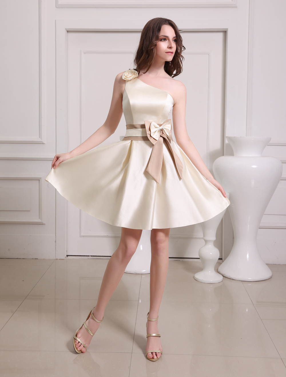 4907b4b5081 ... Short Gold Champagne One-Shoulder Satin Bridesmaid Dress-No.10. 12.  35%OFF. Color  AddThis Sharing Buttons