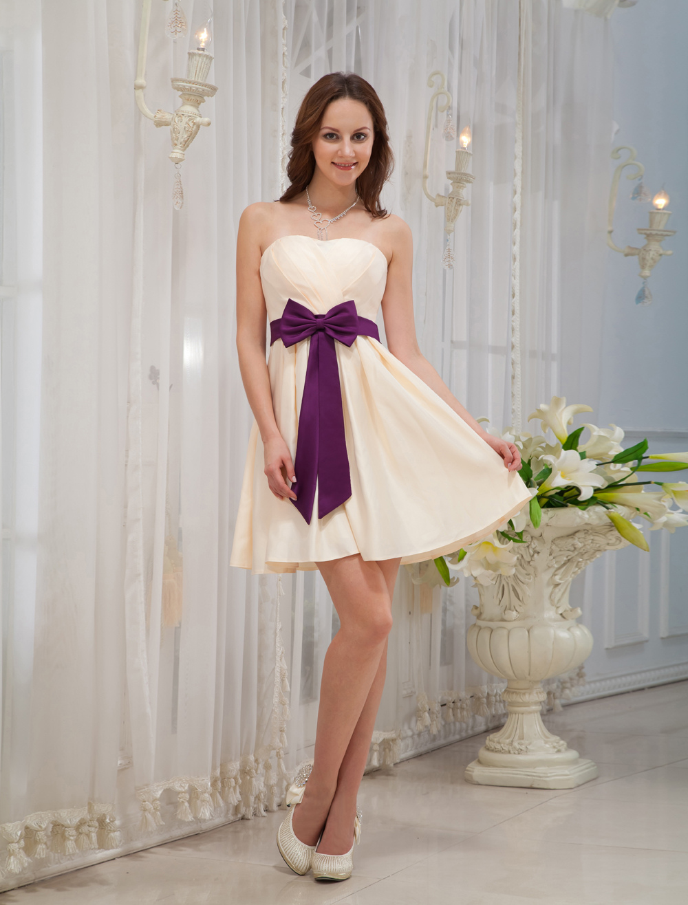 Gold Champagne Strapless Bow Satin Bridesmaid Dress