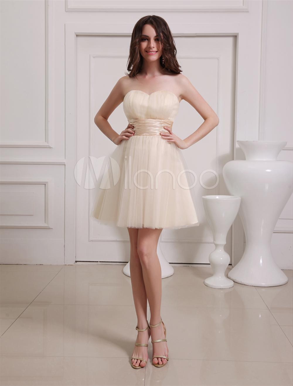 86137b8db Vestido de damas de honor de tul de color champaña con escote de corazón de estilo  dulce - Milanoo.com