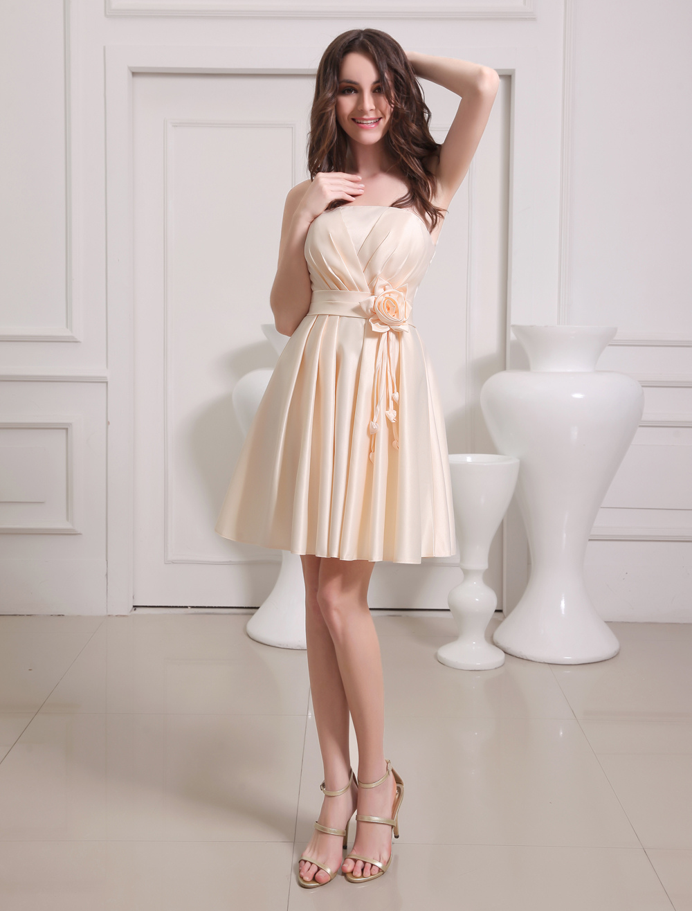 Buy Gold Champagne A-line Flower Satin Bridesmaid Dress for $79.99 in Milanoo store