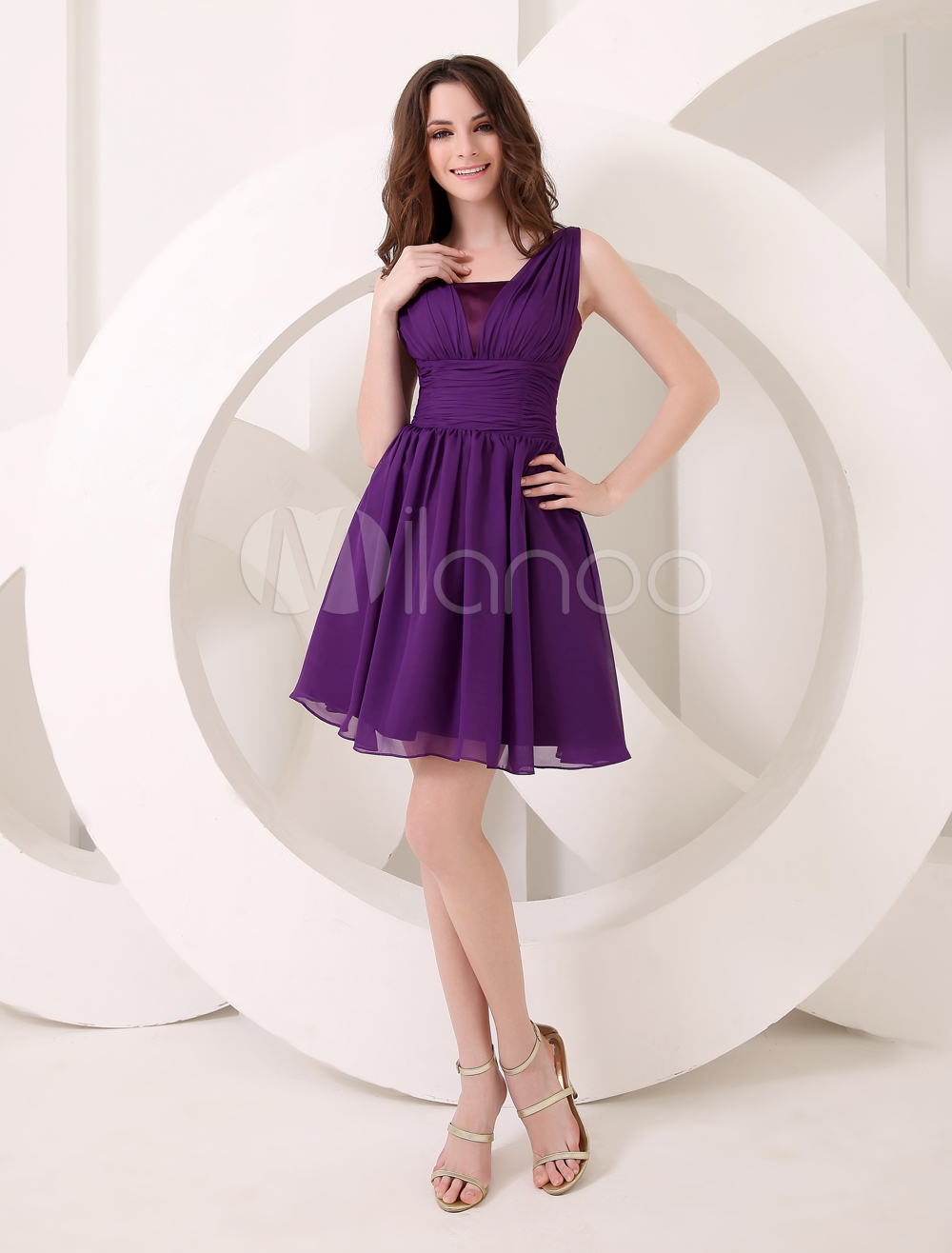 Deep purple bridesmaid dress a line chiffon dress milanoo ombrellifo Image collections
