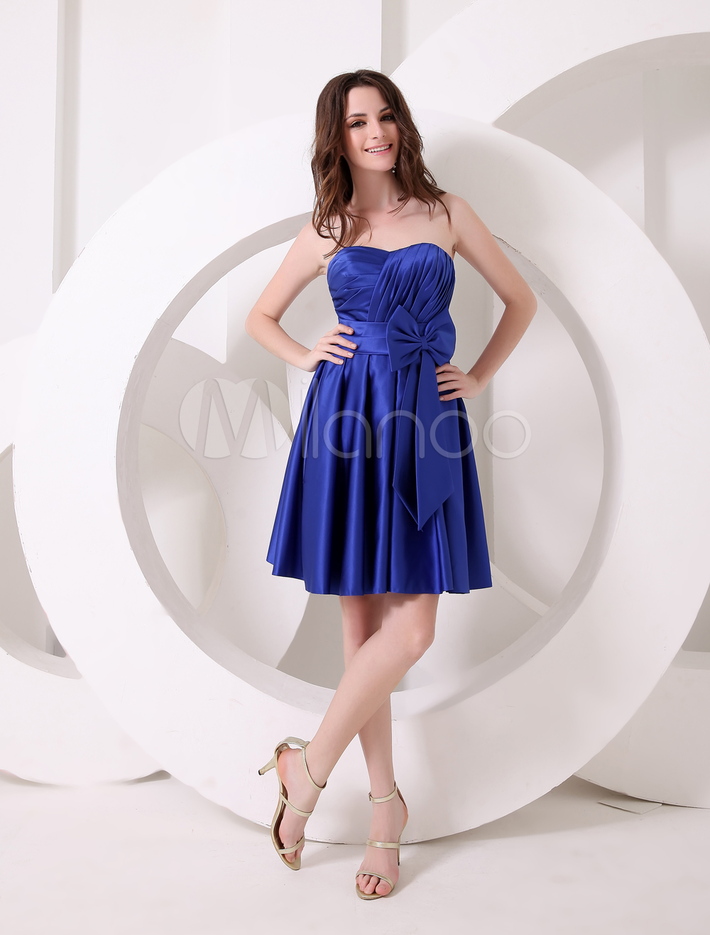 Charming Royal Blue A-line Sweetheart Neck Sash Satin Bridesmaid Dress