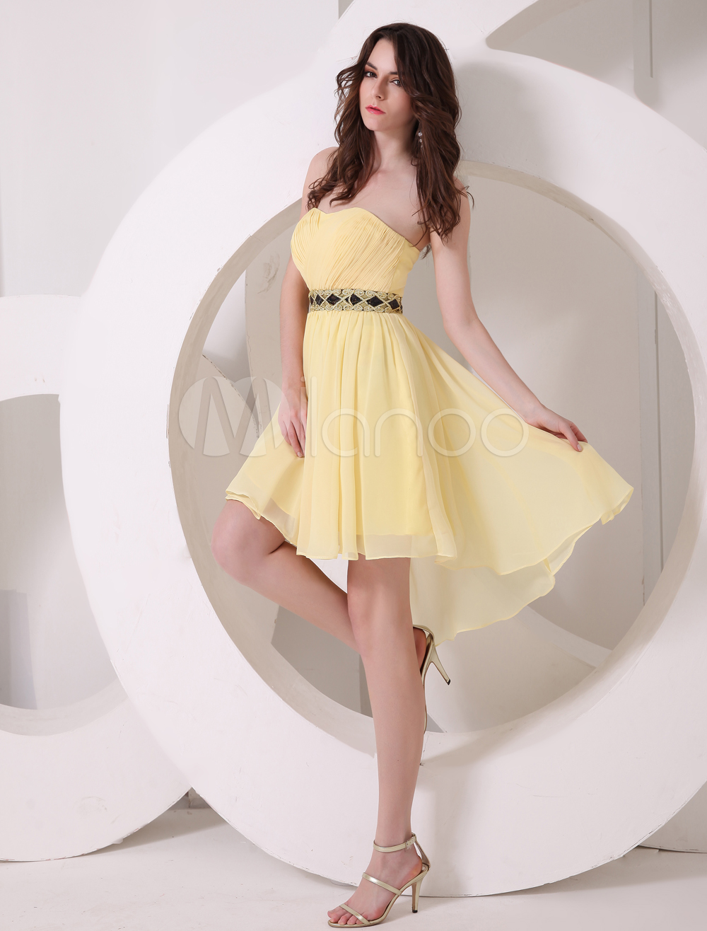Buy Daffodil Sweetheart Neck A-line Sash Chiffon Pretty Prom Dress for $92.59 in Milanoo store