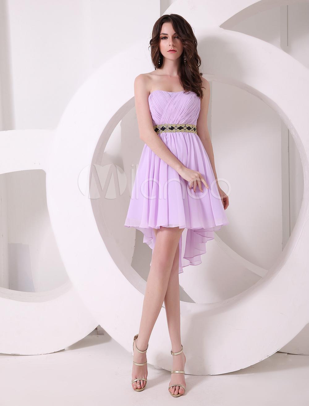 8d2fbb402 Vestido de cóctel de gasa de color lila con escote de corazón de estilo  dulce - Milanoo.com