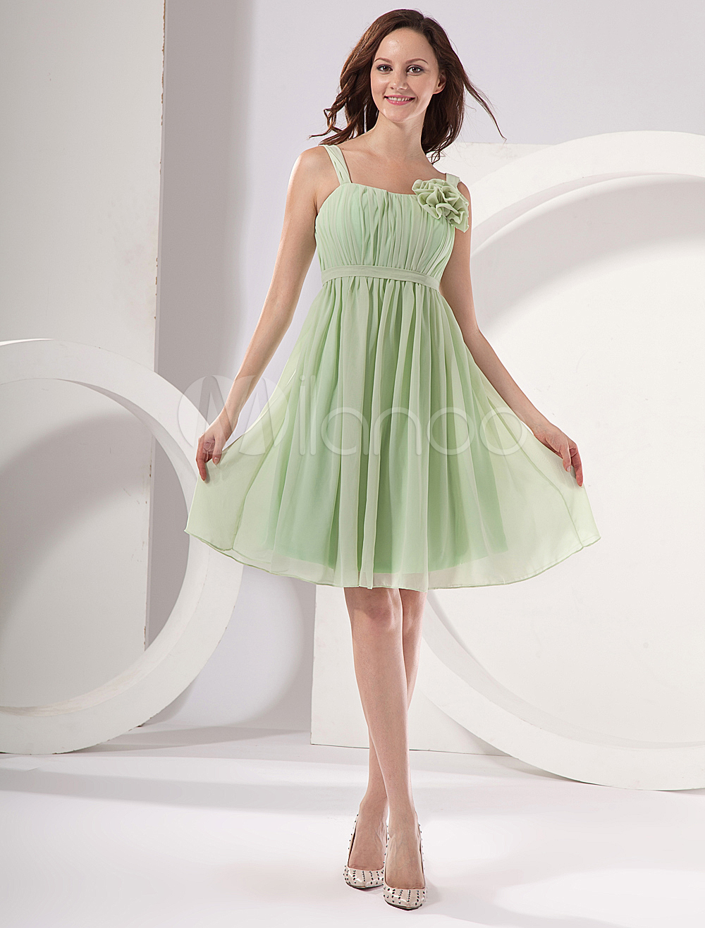 Modern light green square neckline a line chiffon bridesmaid dress modern light green square neckline a line chiffon bridesmaid dress milanoo ombrellifo Gallery
