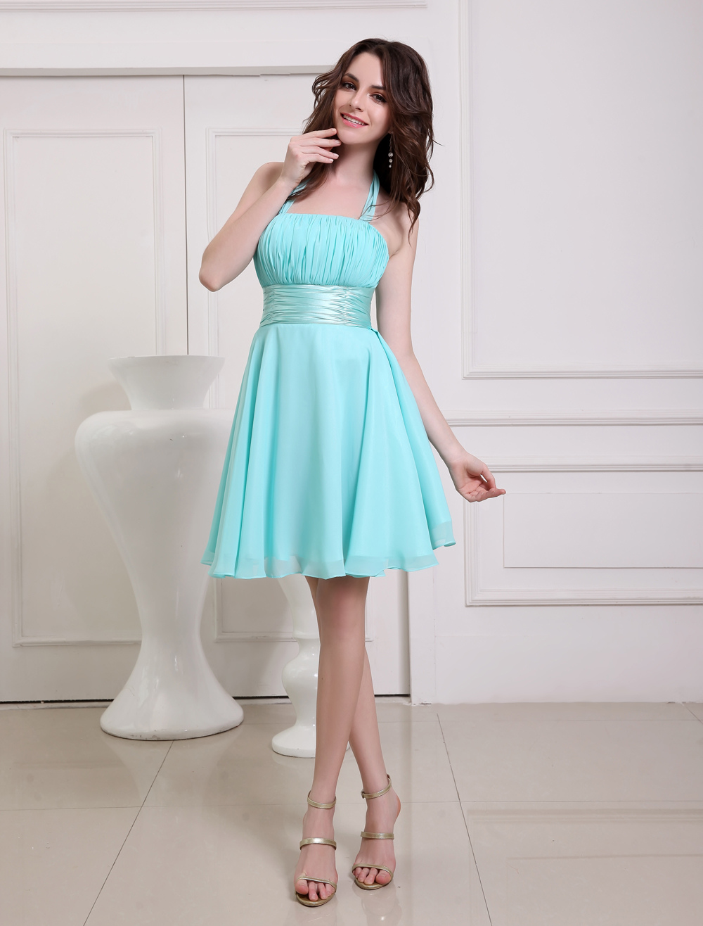 Ocean Blue Prom Dress Straps Sash Lace Up Bow Chiffon Dress ...