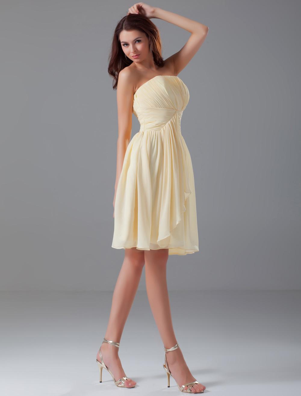 Strapless Knee Length Chiffon Bridesmaid Dresses